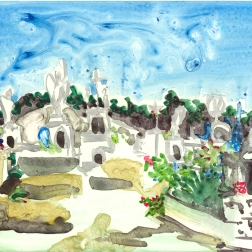 "Isla Mujeres Graveyard by Lisa Leppa, 8"" x 10"" watercolor on ceramic tile"