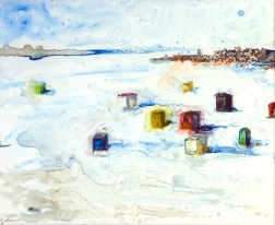 """Icehouses by Lisa Leppa, 8"""" x 10"""" watercolor on ceramic tile"""