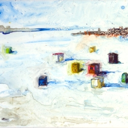 "Icehouses by Lisa Leppa, 8"" x 10"" watercolor on ceramic tile"