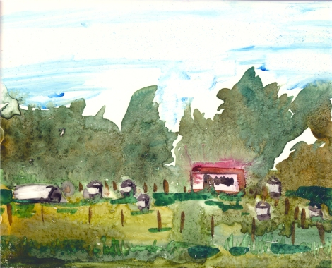 "Midwest Farmland by Lisa Leppa, 8"" x 10"" watercolor on ceramic tile"