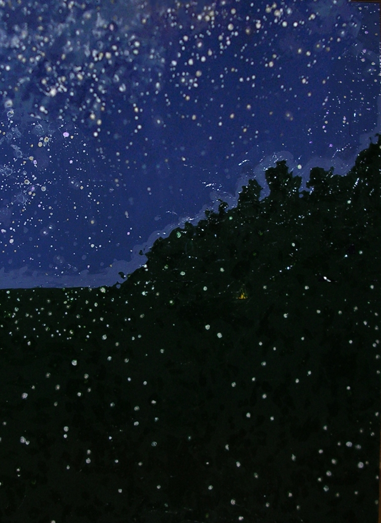 "Stars and Fireflies by Lisa Leppa, acrylic on canvas, 36"" x 48"""