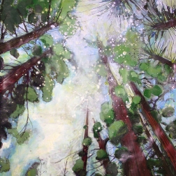 Redwoods by Lisa Leppa, acrylic and watercolor collage on paper