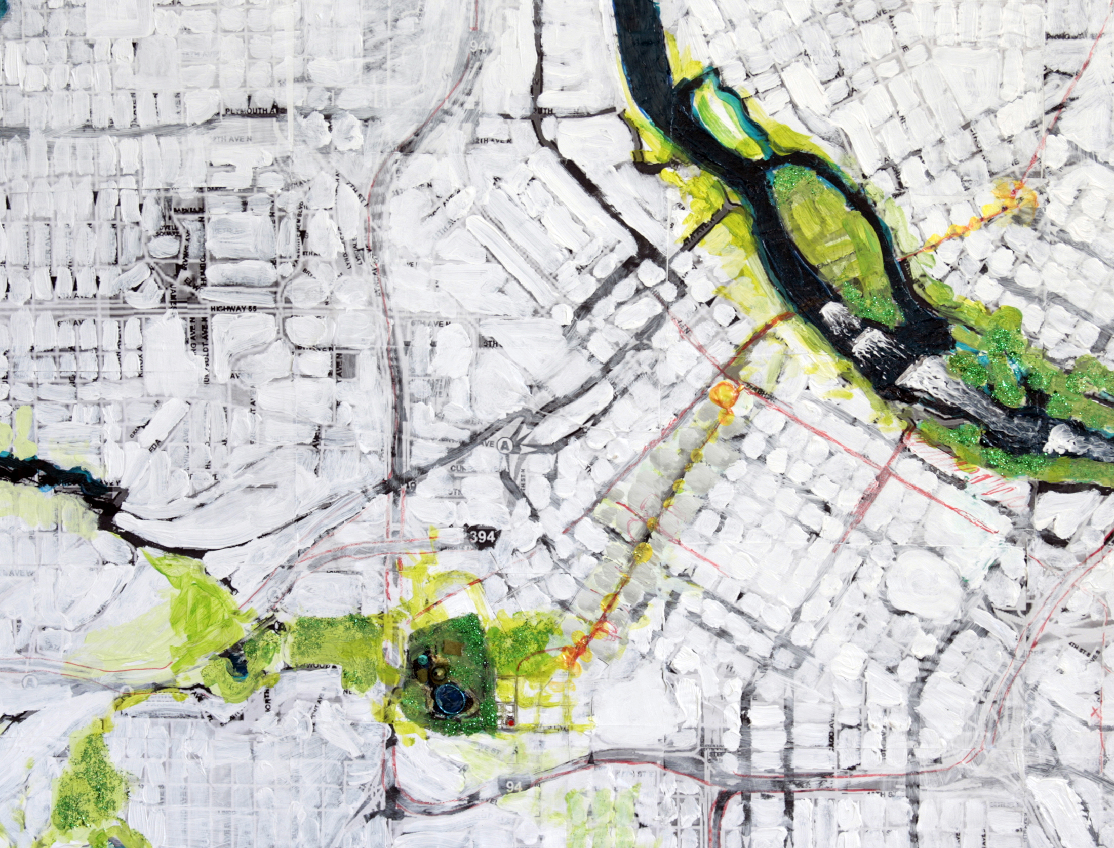 Minneapolis Bike Map Painting Loring Park Downtown North East