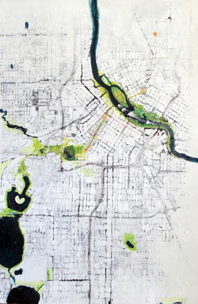Minneapolis Bike Map Painting