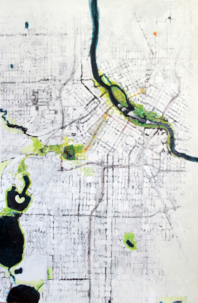 Minneapolis Bike Map Painting